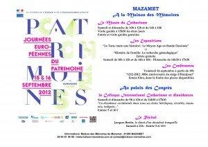 Programme des Journées du Patrimoine 2012 dans Actualités JEP-300x212